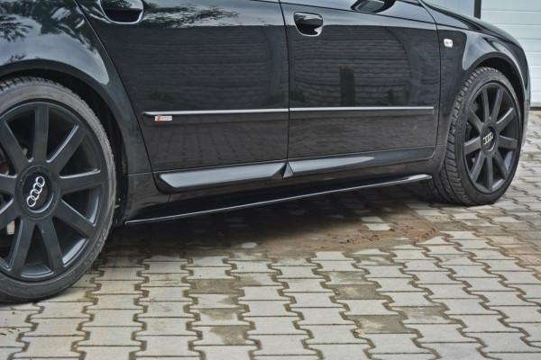 Seitenschweller für Ansatz Cup Leisten Audi S4 / A4 / A4 S-Line B6 / B7 schwarz matt