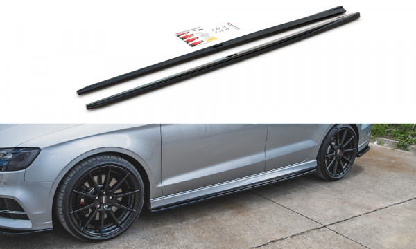 Seitenschweller Ansatz V.2 passend für Audi S3 / A3 S-Line Sedan 8V Facelift schwarz Hochglanz