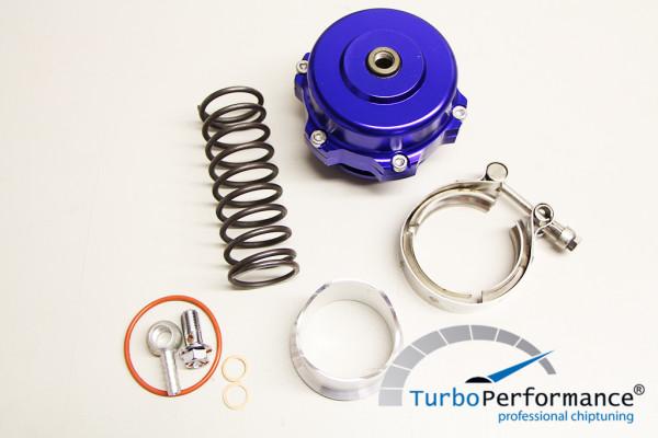 Offenes Pop Off / Blow Off Ventil 50mm inkl. V-Band, VR6 16V R32 R36 C20LET G60 Turbo, blau