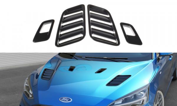 Motorhauben Luftschlitze Ford Focus ST-Line / ST Mk4 schwarz Hochglanz
