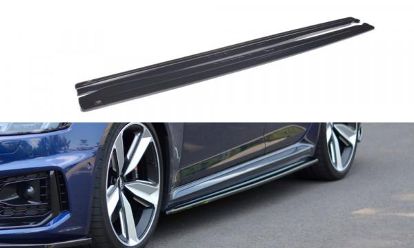 Seitenschweller Ansatz passend für Audi RS4 B9 schwarz Hochglanz
