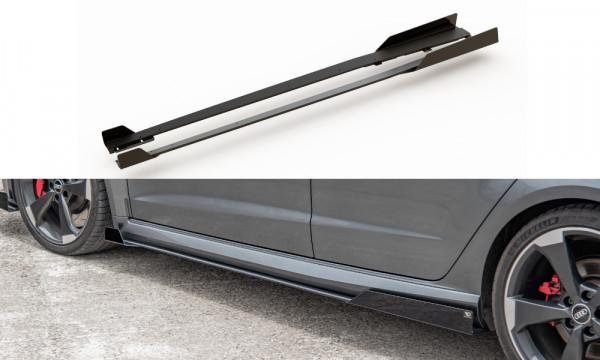 Rennen Haltbarkeit Seitenschweller Ansatz passend für + Flaps Audi RS3 8V Sportback schwarz Hochglan