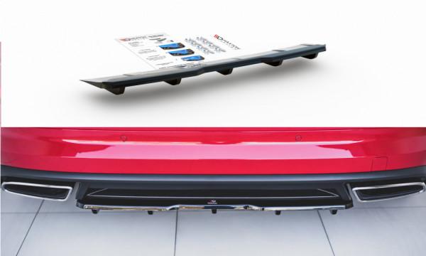 Mittlerer Diffusor Heck Ansatz passend für (mit einem vertikalem balken) Skoda Kodiaq RS schwarz mat