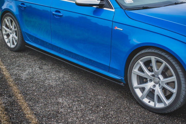 Seitenschweller für Ansatz Cup Leisten Audi S4 / A4 / A4 S-Line B8 / B8 FL schwarz matt