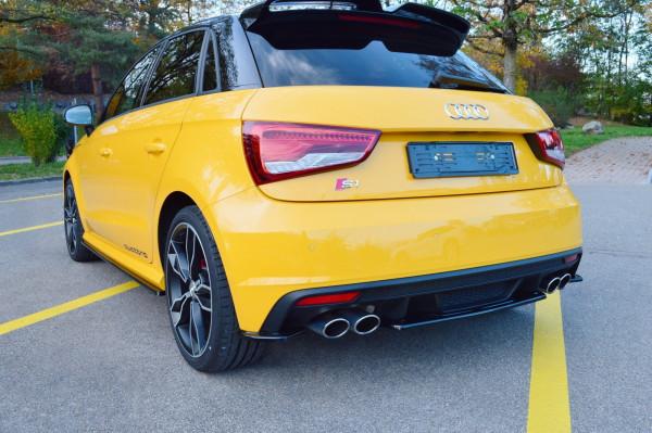 Heck Ansatz Flaps Diffusor passend für Audi S1 8X schwarz matt