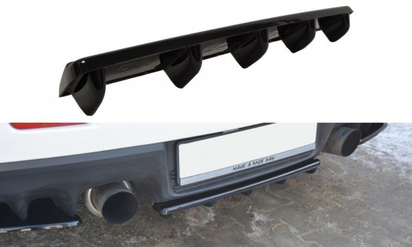 Mittlerer Diffusor Heck Ansatz für Mitsubishi Lancer Evo X im DTM LOOK schwarz matt