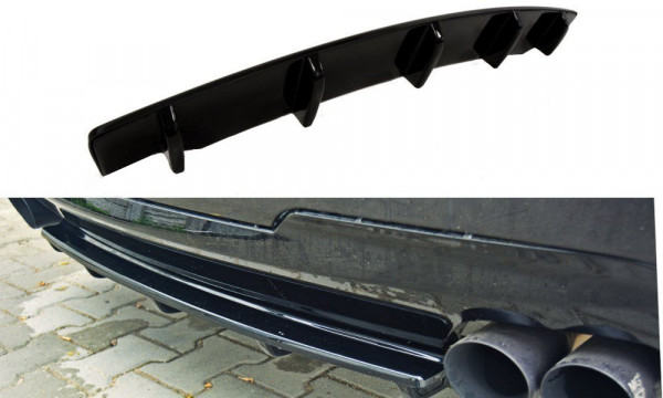Mittlerer Diffusor Heck Ansatz für BMW 5er F11 M Paket (mit zwei Doppel Endstücken) Carbon Look