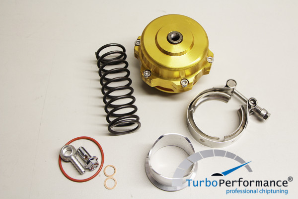 Offenes Pop Off / Blow Off Ventil 50mm inkl. V-Band, VR6 16V R32 R36 C20LET G60 Turbo, gold