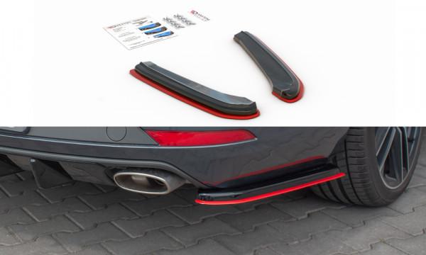 Heck Ansatz Flaps Diffusor passend für V.2 Seat Leon Mk3 Cupra ST Facelift Carbon Look
