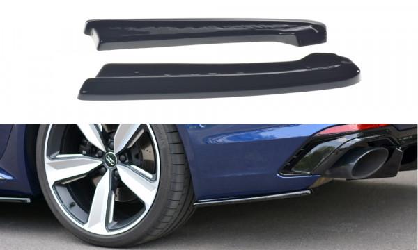 Heck Ansatz Flaps Diffusor passend für Audi RS4 B9 Avant schwarz Hochglanz
