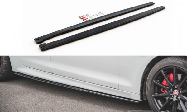 Seitenschweller Ansatz passend für Jaguar XJ X351 schwarz matt