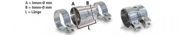 HJS stainless steel adapter / reduction with clamps of 70x60x125mm, 90605531, double socket