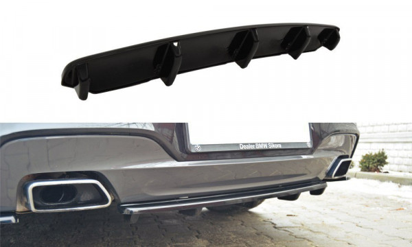 Mittlerer Diffusor Heck Ansatz für BMW 6er Gran Coupé M Paket DTM LOOK schwarz matt