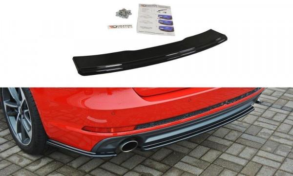Mittlerer Diffusor Heck Ansatz passend für Audi A4 B9 S-Line schwarz Hochglanz