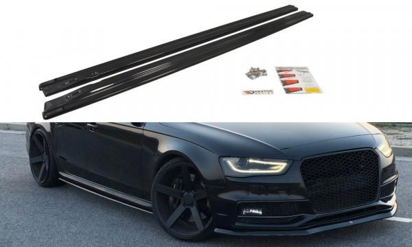Seitenschweller Ansatz passend für passend für Audi S4 B8 FL schwarz matt schwarz matt