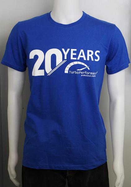 "TurboPerformance Jubiläums T-Shirt blau mit Aufdruck, ""20 Years TurboPerformance"""