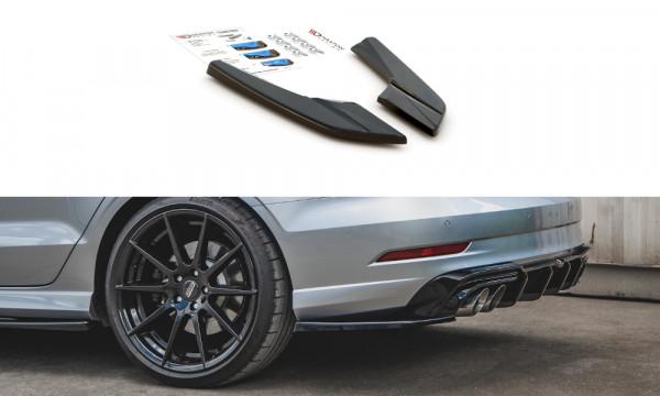 Heck Ansatz Flaps Diffusor V.2 passend für Audi S3 Sedan 8V Facelift Carbon Look