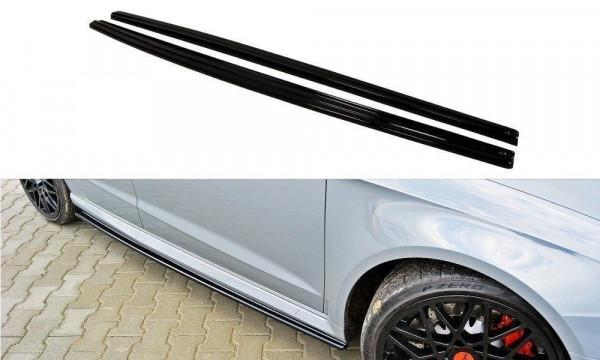 Seitenschweller für Ansatz Cup Leisten Audi RS3 8V Sportback schwarz matt