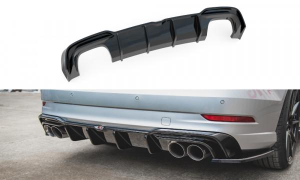 Diffusor Heck Ansatz passend für Audi S3 Sedan 8V Facelift schwarz Hochglanz
