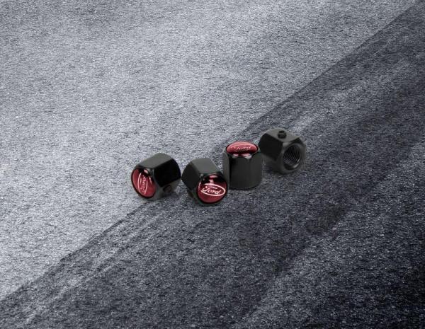Ford Performance - Ventilkappen Gloss Black, mit roter Spitze und weißem Ford-Logo, 2308111