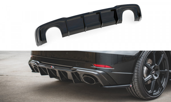 Diffusor Heck Ansatz V.2 passend für Audi RS3 8V Sportback Facelift schwarz Hochglanz