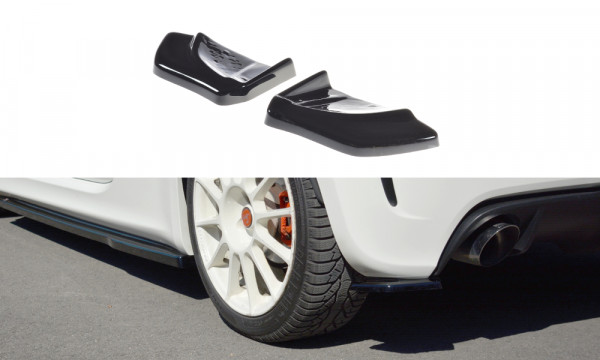 Heck Ansatz Flaps Diffusor passend für passend für FIAT 500 ABARTH MK1 Carbon Look Carbon Look