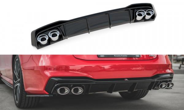Diffusor Heck Ansatz passend für + Endschalldampfer Sportauspuff Attrappe Audi A7 C8 S-Line