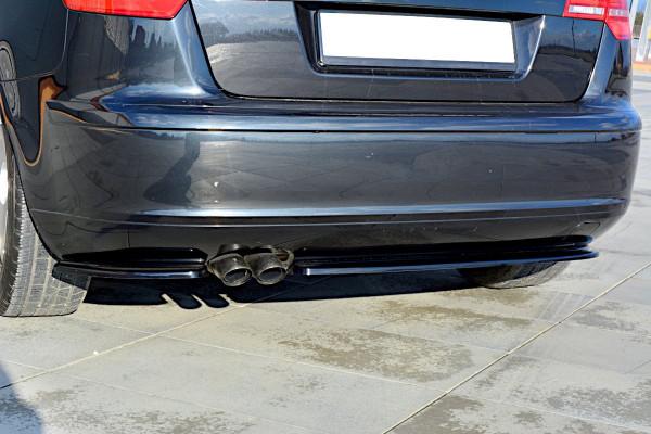 Splitter / Diffusor Heck Ansatz passend für Audi A3 Sportback 8P / 8P Facelift schwarz Hochglanz