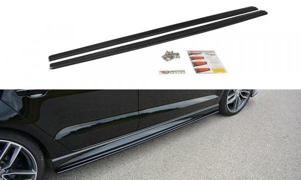 Seitenschweller Ansatz passend für Audi S3 / A3 S-Line 8V / 8V FL Limousine schwarz Hochglanz