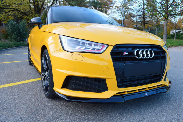 Front Ansatz passend für Audi S1 8X schwarz Hochglanz