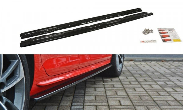 Seitenschweller Ansatz passend für Audi S4 / A4 S-Line B9 schwarz Hochglanz