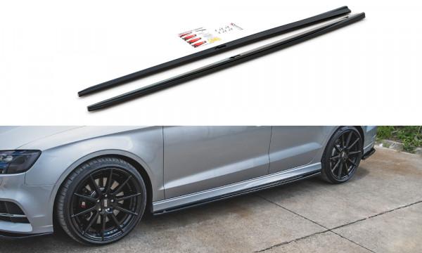 Seitenschweller Ansatz V.2 passend für Audi S3 / A3 S-Line Sedan 8V Facelift schwarz matt