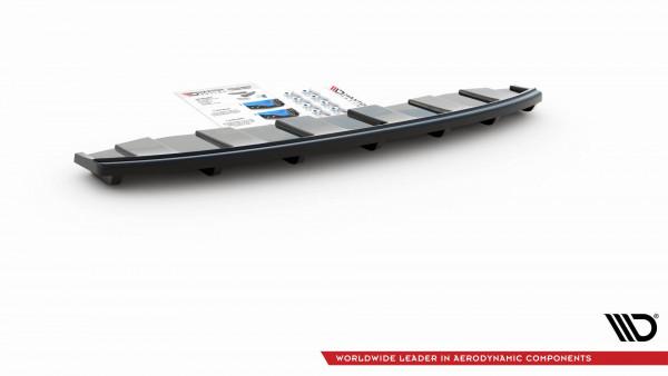 Mittlerer Diffusor Heck Ansatz passend für AUDI A6 C7 S-LINE AVANT AUSPUFF 2X1 im DTM LOOK schwarz H