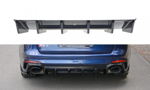 Diffusor Heck Ansatz passend für Audi RS4 B9 Avant schwarz Hochglanz