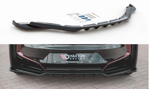 Mittlerer Diffusor Heck Ansatz passend für (mit einem vertikalem balken) BMW i8 schwarz Hochglanz