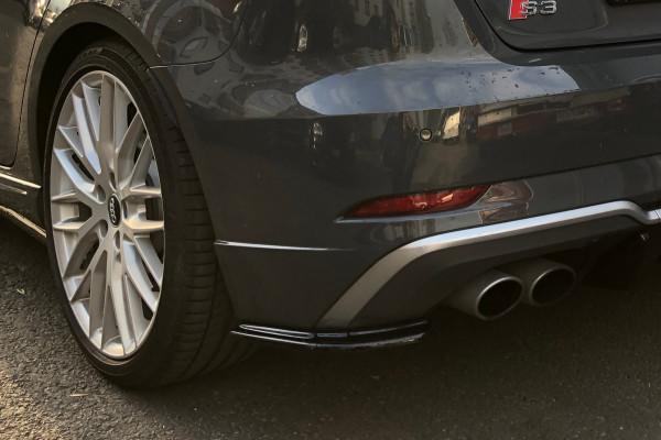 Heck Ansatz Flaps Diffusor passend für AUDI S3 8V FACELIFT schwarz Hochglanz