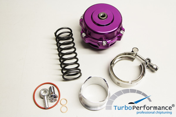 Open Pop Off / Blow Off Valve 50mm incl. V-Band, VR6 16V R32 R36 C20LET G60 Turbo, violet