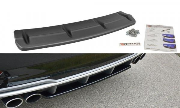 Mittlerer Diffusor Heck Ansatz passend für Audi S3 8V FL Limousine schwarz matt